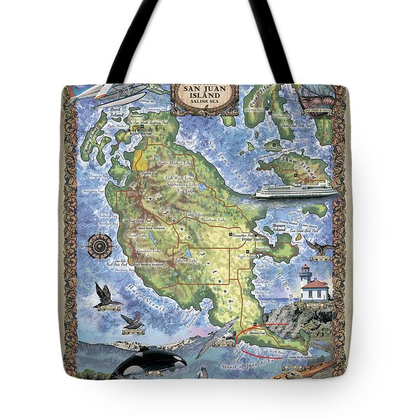 San Juan Island, San Juan Islands Map, Hand-painted Historic Map, Island Art, Northwest Art Tote Bag