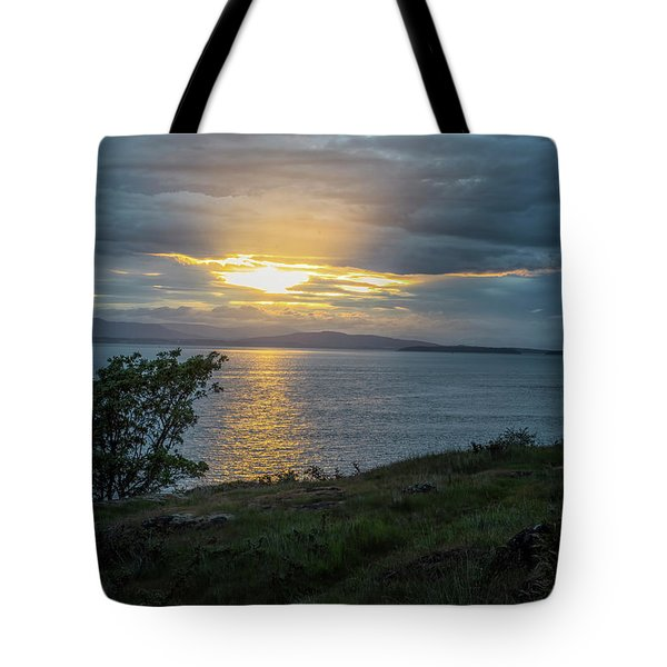 Tote Bag featuring the photograph San Juan Island Sunset by Tom Singleton