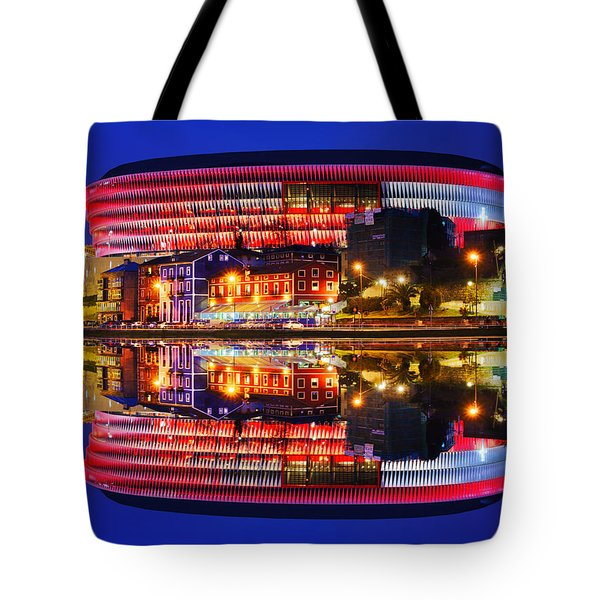 San Mames Stadium At Night With Water Reflections Tote Bag