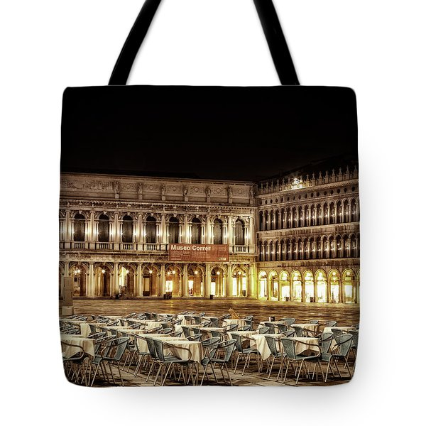 Tote Bag featuring the photograph San Marco Cafes At Night by Andrew Soundarajan