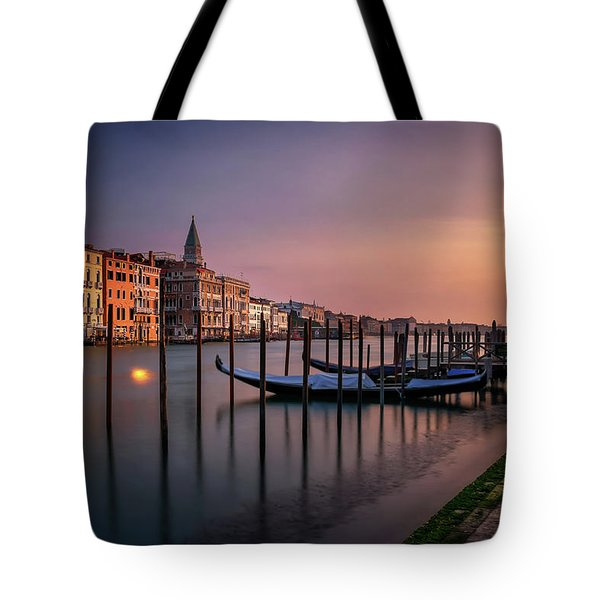San Marco Campanile With Gondolas At Grand Canal During Calm Sunrise, Venice, Italy, Europe. Tote Bag