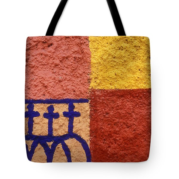 Tote Bag featuring the photograph San Miguel Wall San Miguel De Allende Mexico by John  Mitchell