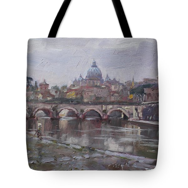 San Pietro In A Rainy Day Rome Tote Bag