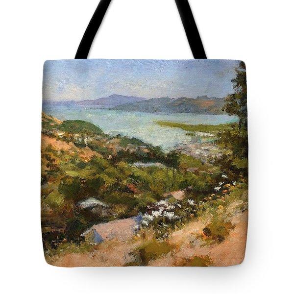 San Rafael Bay From Via La Cumbre, Greenbrae, Ca Tote Bag by Peter Salwen
