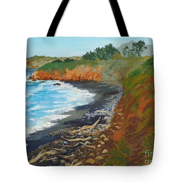Tote Bag featuring the painting San Simeon Ca Coast by Katherine Young-Beck