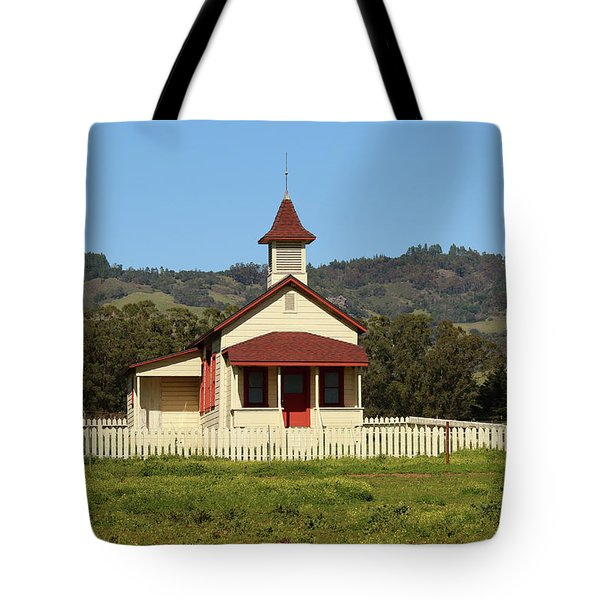 Tote Bag featuring the photograph San Simeon - Castle And Schoolhouse by Art Block Collections
