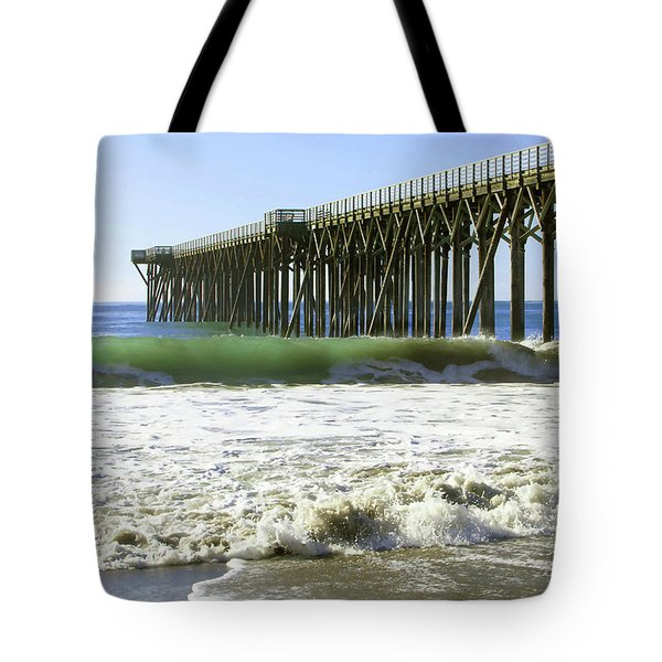 Tote Bag featuring the photograph San Simeon Pier by Art Block Collections
