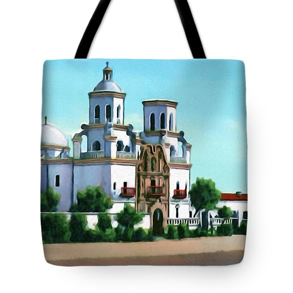 San Xavier Del Bac Mission Tote Bag by Walter Colvin