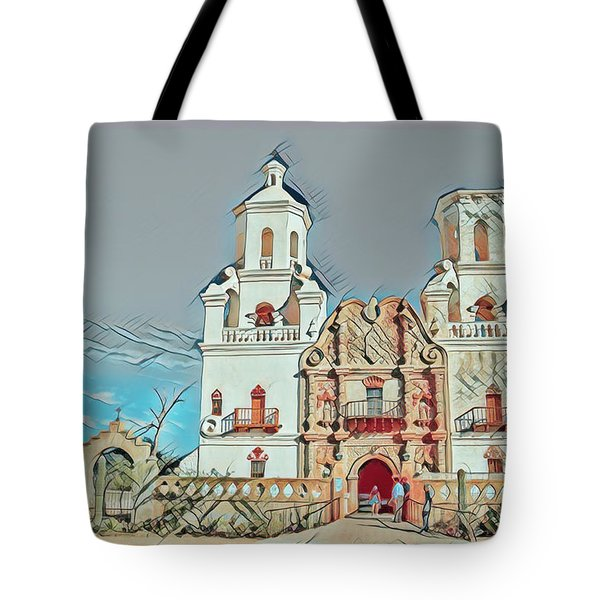 Tote Bag featuring the photograph San Xavier Del Bac Remix One by Dan McManus