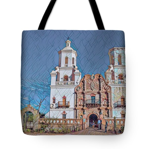 Tote Bag featuring the photograph San Xavier Del Bac Remix Two by Dan McManus