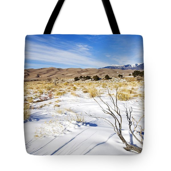 Sand And Snow Tote Bag by Mike  Dawson