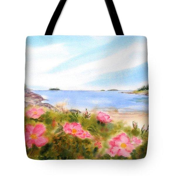Sand Beach Roses Tote Bag