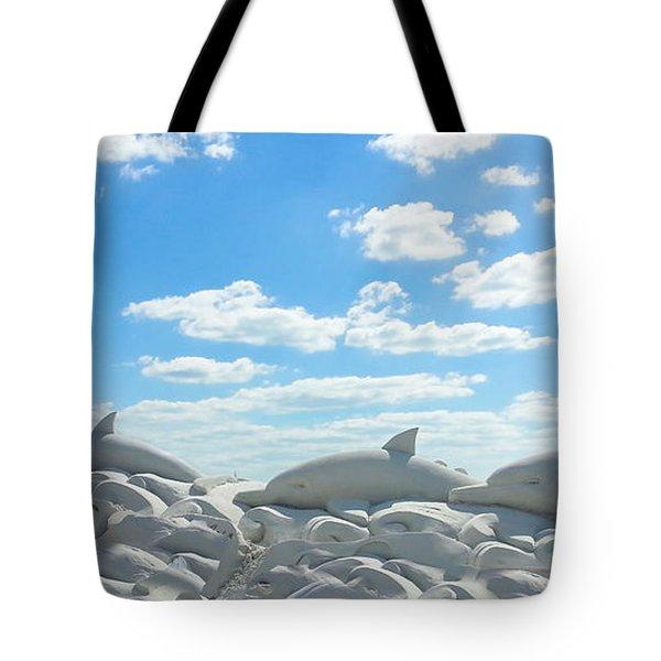 Sand Dolphins At Siesta Key Beach Tote Bag