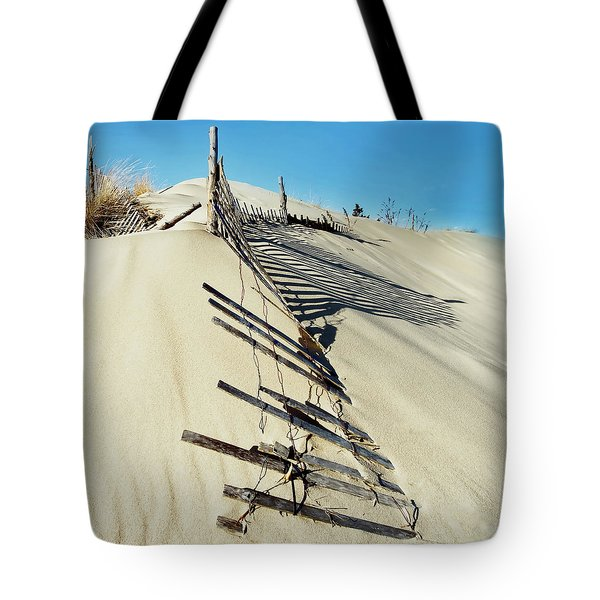 Sand Dune Fences And Shadows Tote Bag