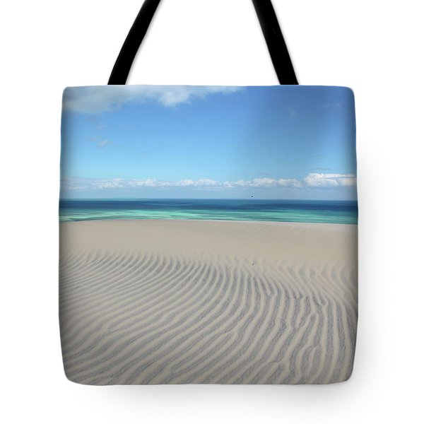 Sand Dune Ripples And The Ocean Beyond Tote Bag