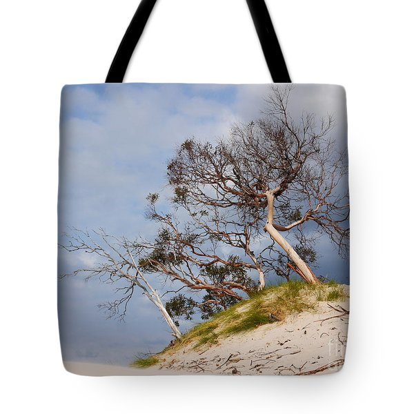 Sand Dune With Bent Trees Tote Bag