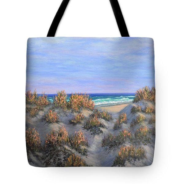 Sand Dunes Sea Grass Beach Painting Tote Bag