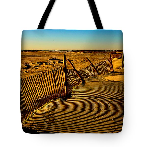 Sand Fences At Lands End II Tote Bag by John Harding