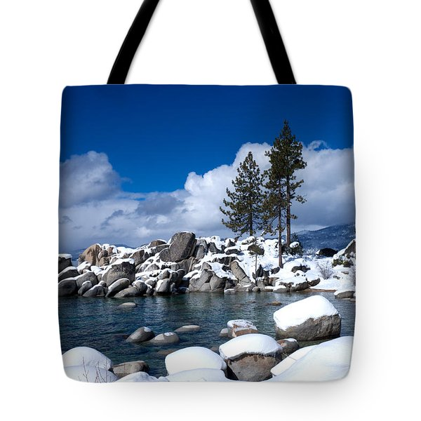 Sand Harbor In Winter Tote Bag by Vinnie Oakes