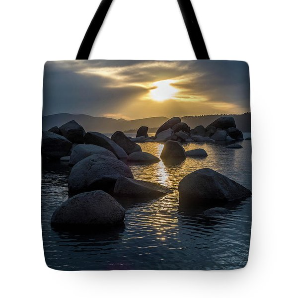 Sand Harbor Light Tote Bag