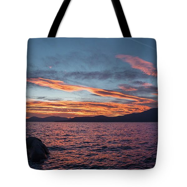 Sand Harbor Sunset Pano2 Tote Bag