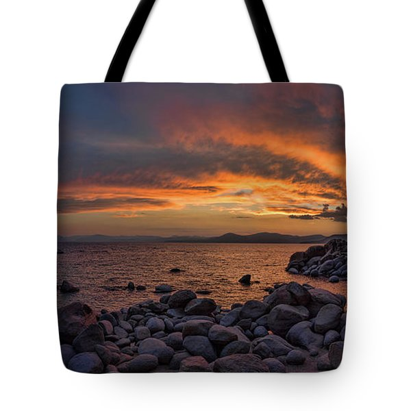 Sand Harbor Sunset Panorama Tote Bag