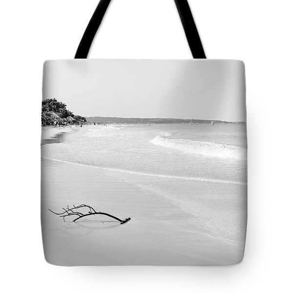 Sand Meets The Sea In Black And White Tote Bag
