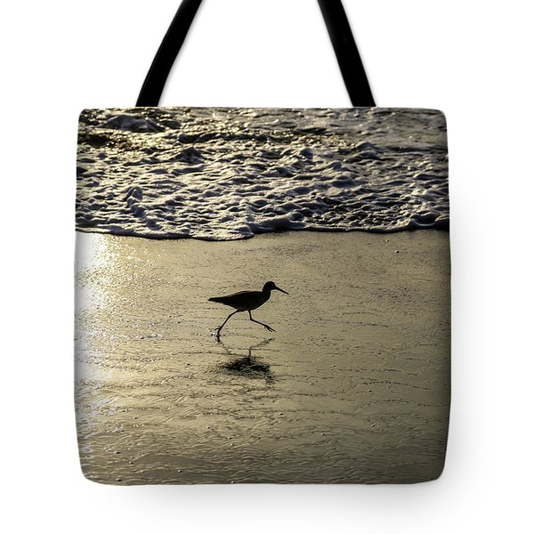 Tote Bag featuring the photograph Sand Piper Dash by T A Davies