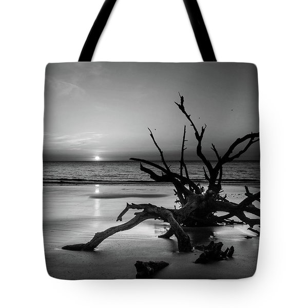 Sand Surf And Driftwood In Black And White Tote Bag