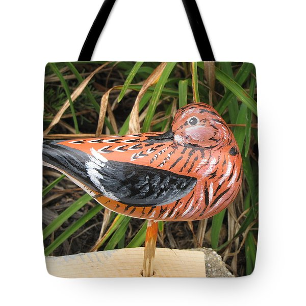 Tote Bag featuring the sculpture Sanderling Back by Kevin F Heuman