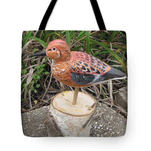 Tote Bag featuring the sculpture Sanderling Foward 3 by Kevin F Heuman
