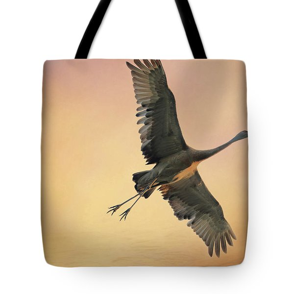 Tote Bag featuring the photograph Sandhill At Sunset by Donna Kennedy