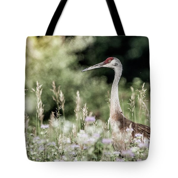 Sandhill Crane Tote Bag by Cathy Cooley