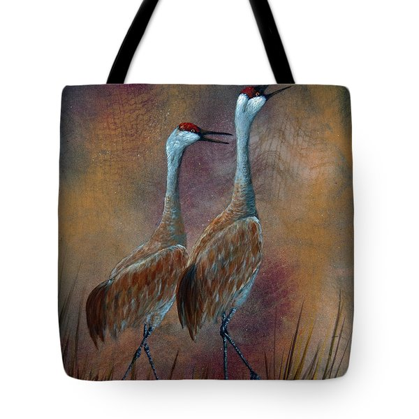 Sandhill Crane Duet Tote Bag by Dee Carpenter