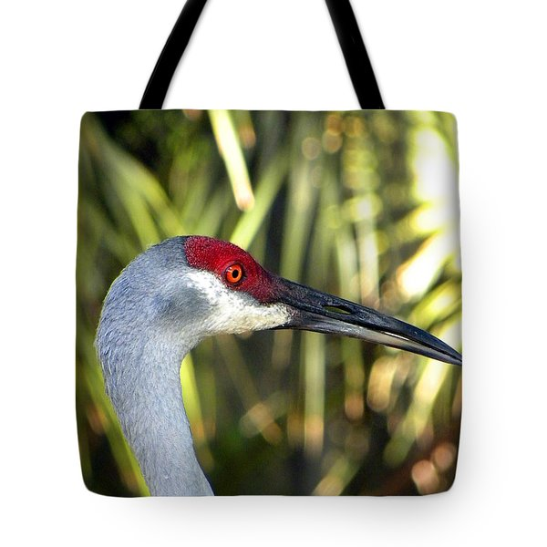 Sandhill Crane Head  000 Tote Bag by Chris Mercer