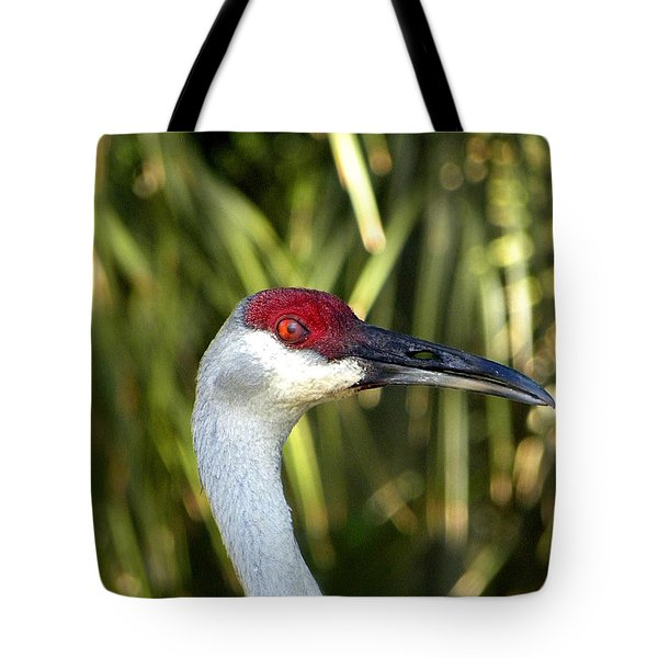 Sandhill Crane Head  Tote Bag by Chris Mercer