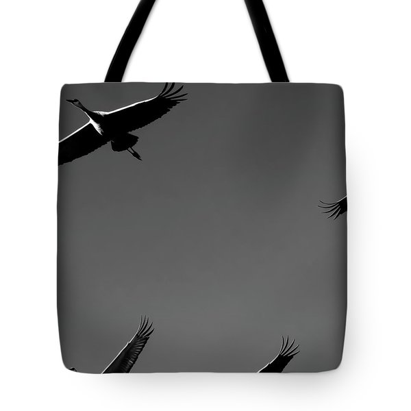 Sandhill Crane In Flight Tote Bag