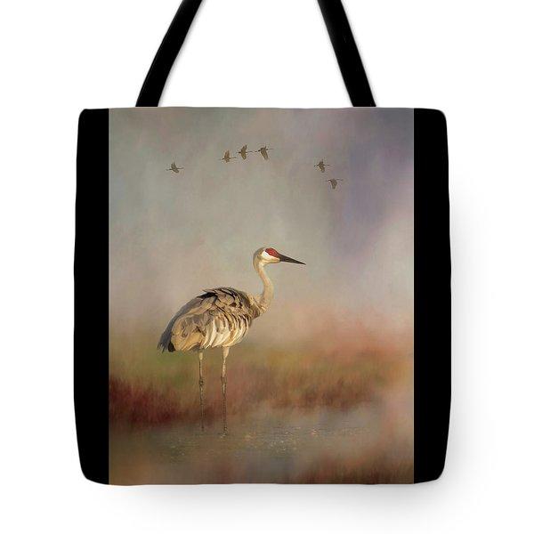 Sandhill Crane - Painterly Vertical Tote Bag