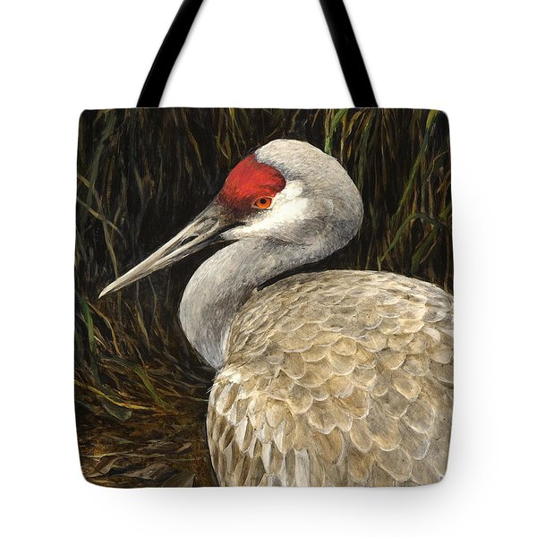 Tote Bag featuring the painting Sandhill Crane - Realistic Bird Wildlife Art by Karen Whitworth