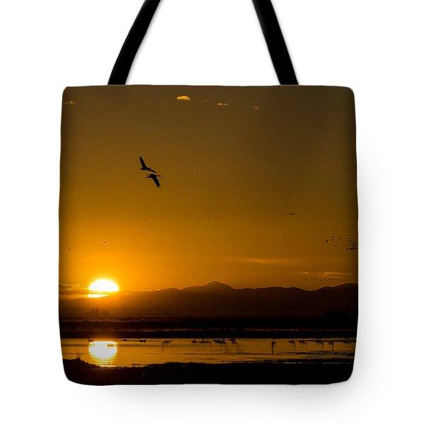 Sandhill Crane Sunrise Tote Bag