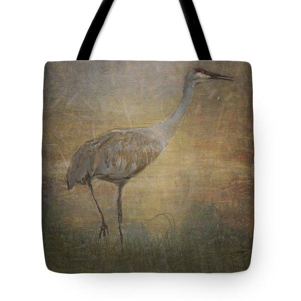 Sandhill Crane Watercolor Tote Bag