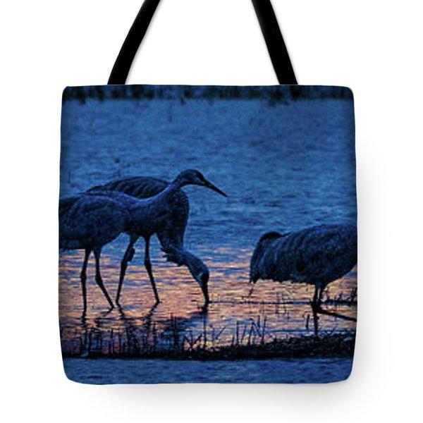 Sandhill Cranes At Twilight Tote Bag