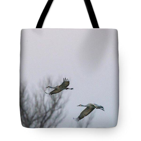 Sandhill Cranes Flying Tote Bag