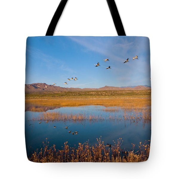 Sandhill Cranes In Flight Tote Bag