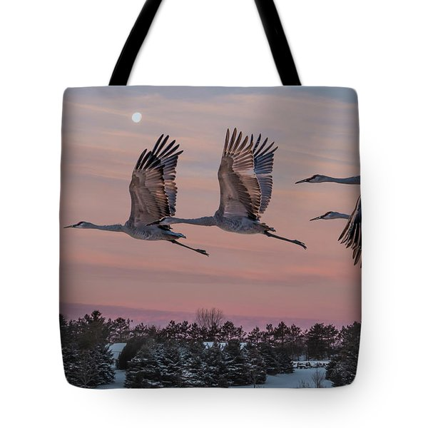 Sandhill Cranes In Flight Tote Bag by Patti Deters