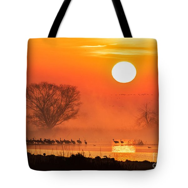 Sandhill Cranes In The Misty Sunrise Tote Bag