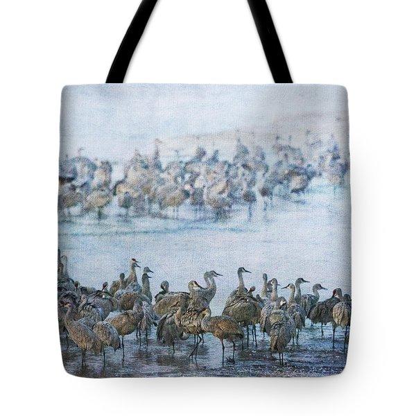 Sandhill Cranes Texture Tote Bag