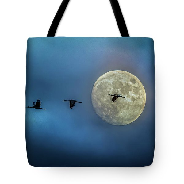 Sandhill Cranes With Full Moon Tote Bag