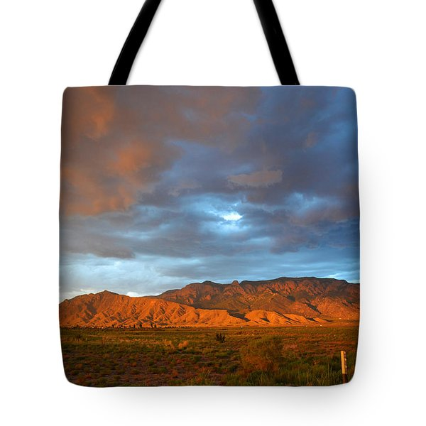 Sandia Mountains Colorful Sunset Tote Bag by Andrea Hazel Ihlefeld