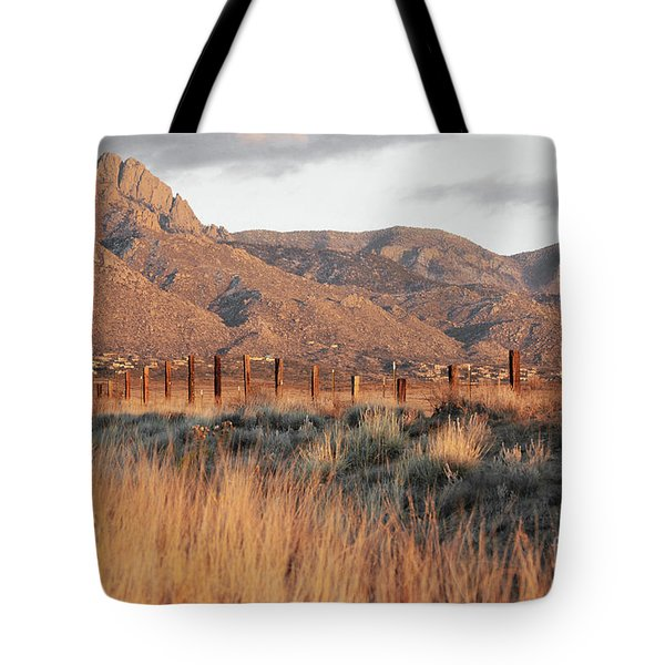 Sandia Mountains Rustic Fence Countryside Tote Bag by Andrea Hazel Ihlefeld